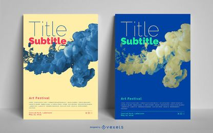 Business poster set liquid design