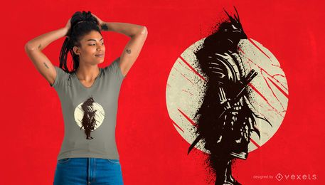 Diseño de camiseta samurai splash