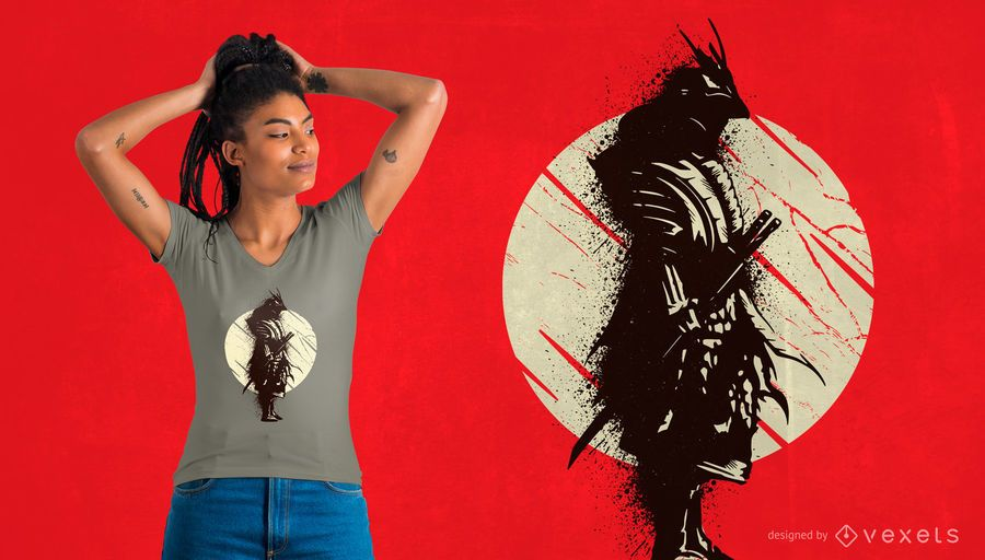 Diseño de camiseta splash Samurai