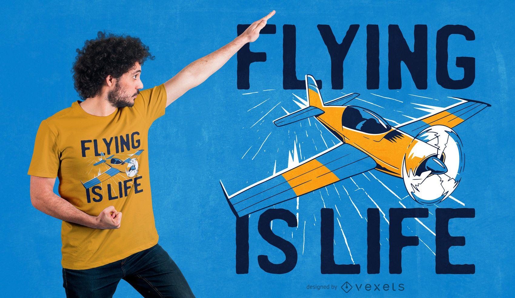 Flying is life dise?o de camiseta.
