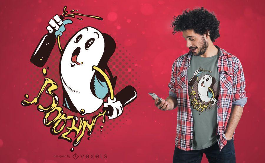 Diseño de camiseta fantasma Boozin