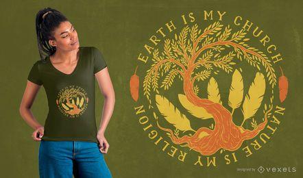 Design de t-shirt com citações da natureza