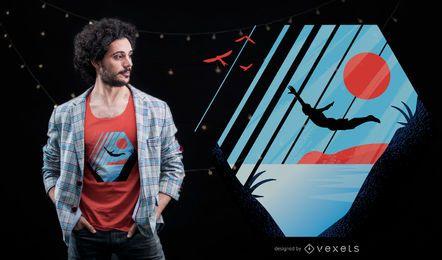 Diseño de camiseta de salto de acantilado.