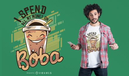 Diseño de camiseta de bubble tea
