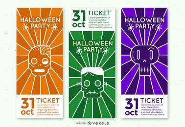 Conjunto de ingressos para festa de monstros de Halloween