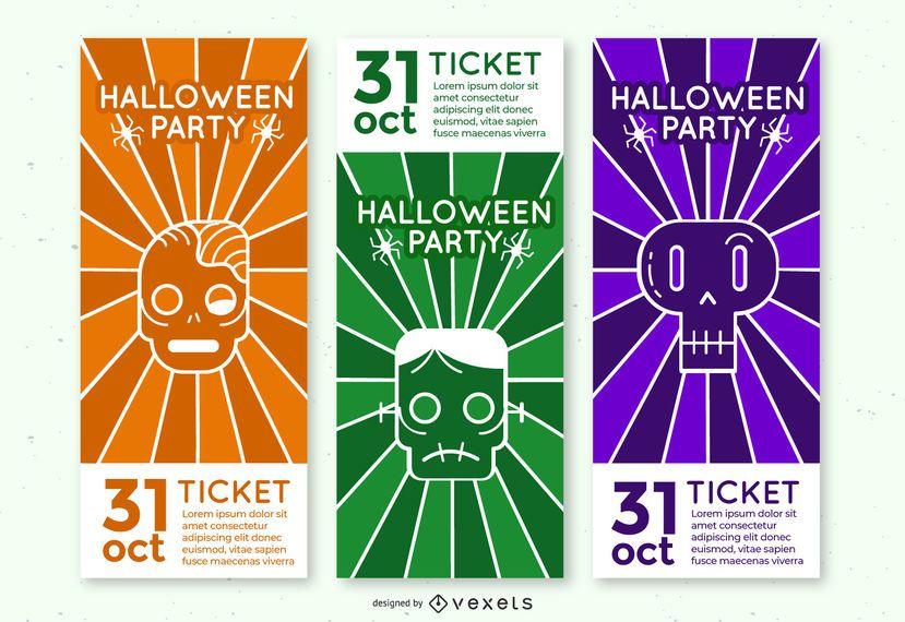 Conjunto de bilhetes de festa de monstro Halloween