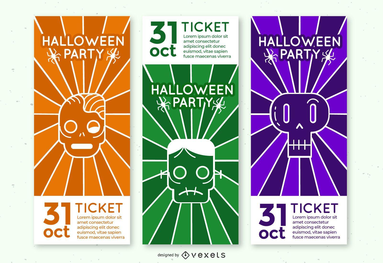 Halloween monster party ticket set
