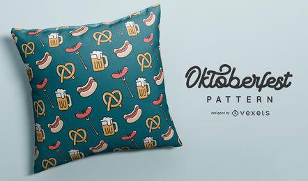 Diseño de patrón de comida y cerveza Oktoberfest