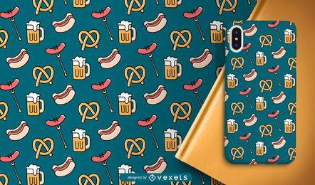 Oktoberfest diseño de patrones de comida y cerveza