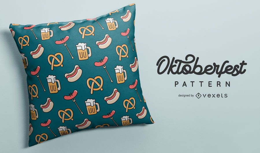 Oktoberfest food and beer pattern design