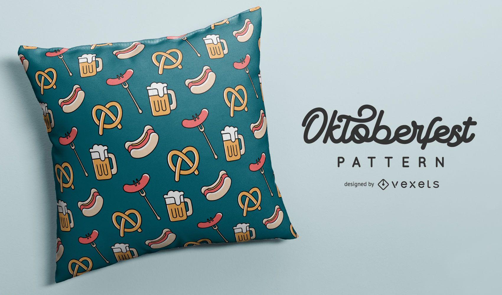 Oktoberfest food and beer pattern design