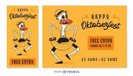 Banner de texto editable de personajes de Oktoberfest