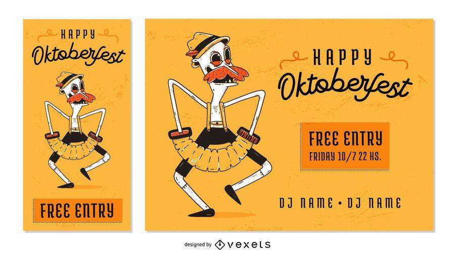 Banner de texto editable del personaje Oktoberfest