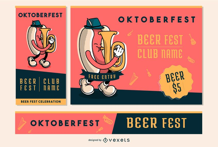 Oktoberfest Party Invitation Banner Set