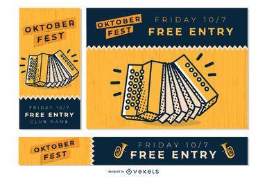 Oktoberfest music banner set