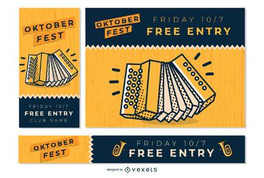 Oktoberfest Musik Banner Set