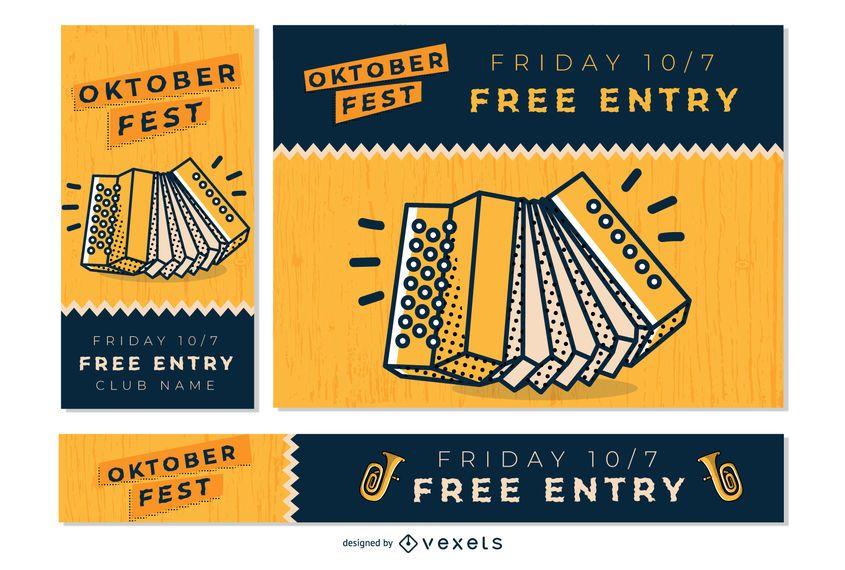 Conjunto de banner de música Oktoberfest