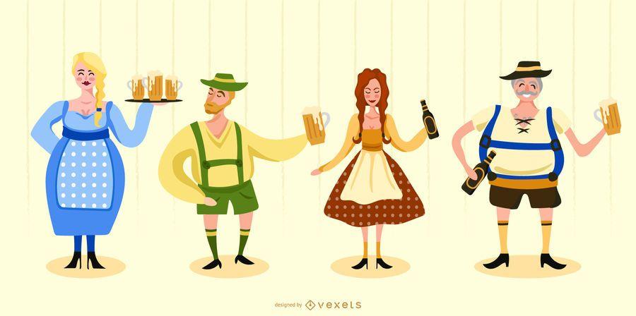 Conjunto de caracteres tradicionais da Oktoberfest