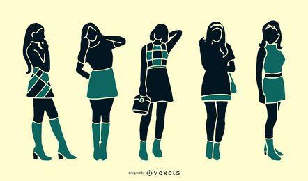 Conjunto de silhueta de menina retrô dos anos 60