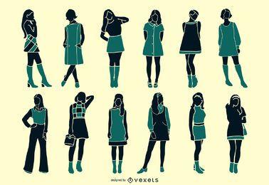 Conjunto de silueta de niña retro de los años 60