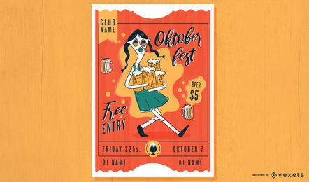 Oktoberfest woman party poster design
