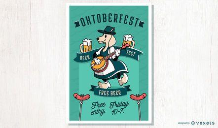 Diseño de carteles de dibujos animados de Oktoberfest