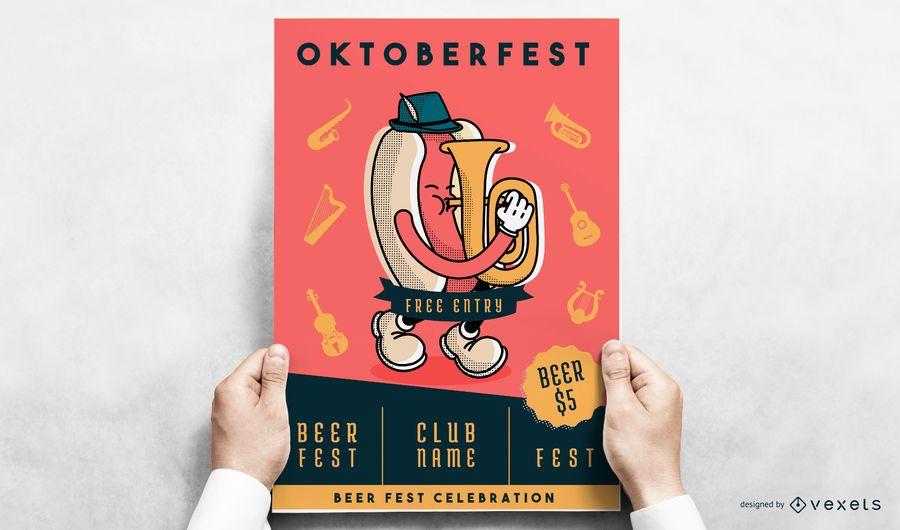 Diseño de póster de la Oktoberfest wiener