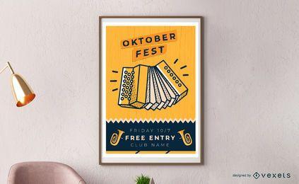 Diseño de cartel de acordeón de Oktoberfest