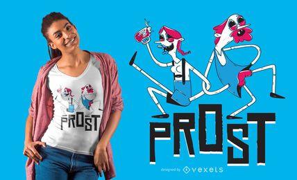 Diseño de camiseta de pareja de oktoberfest espeluznante