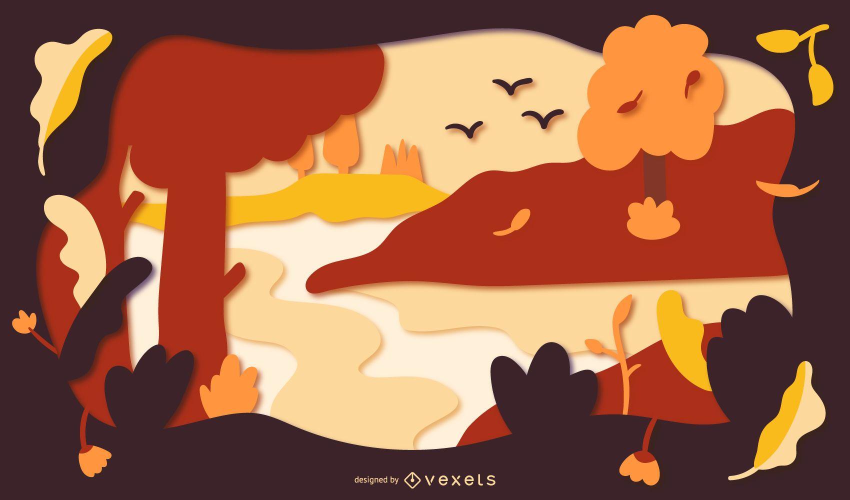 Autumn landscape papercut illustration