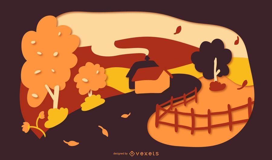Autumn house papercut illustration