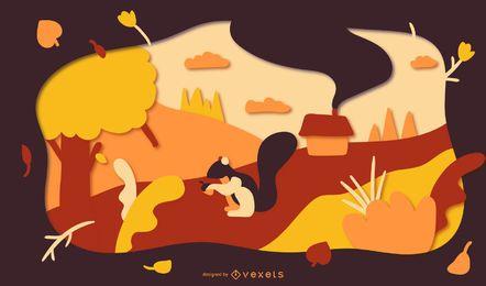 Ilustración de papercut de paisaje de otoño