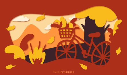 Autumn papercut bike illustration