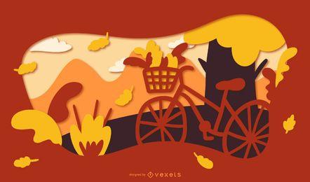 Ilustración de bicicleta de papercut de otoño