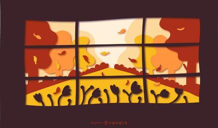 Ilustração de papercut de janela de outono