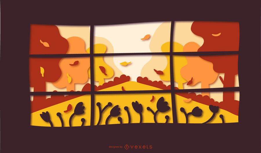 Autumn window papercut illustration