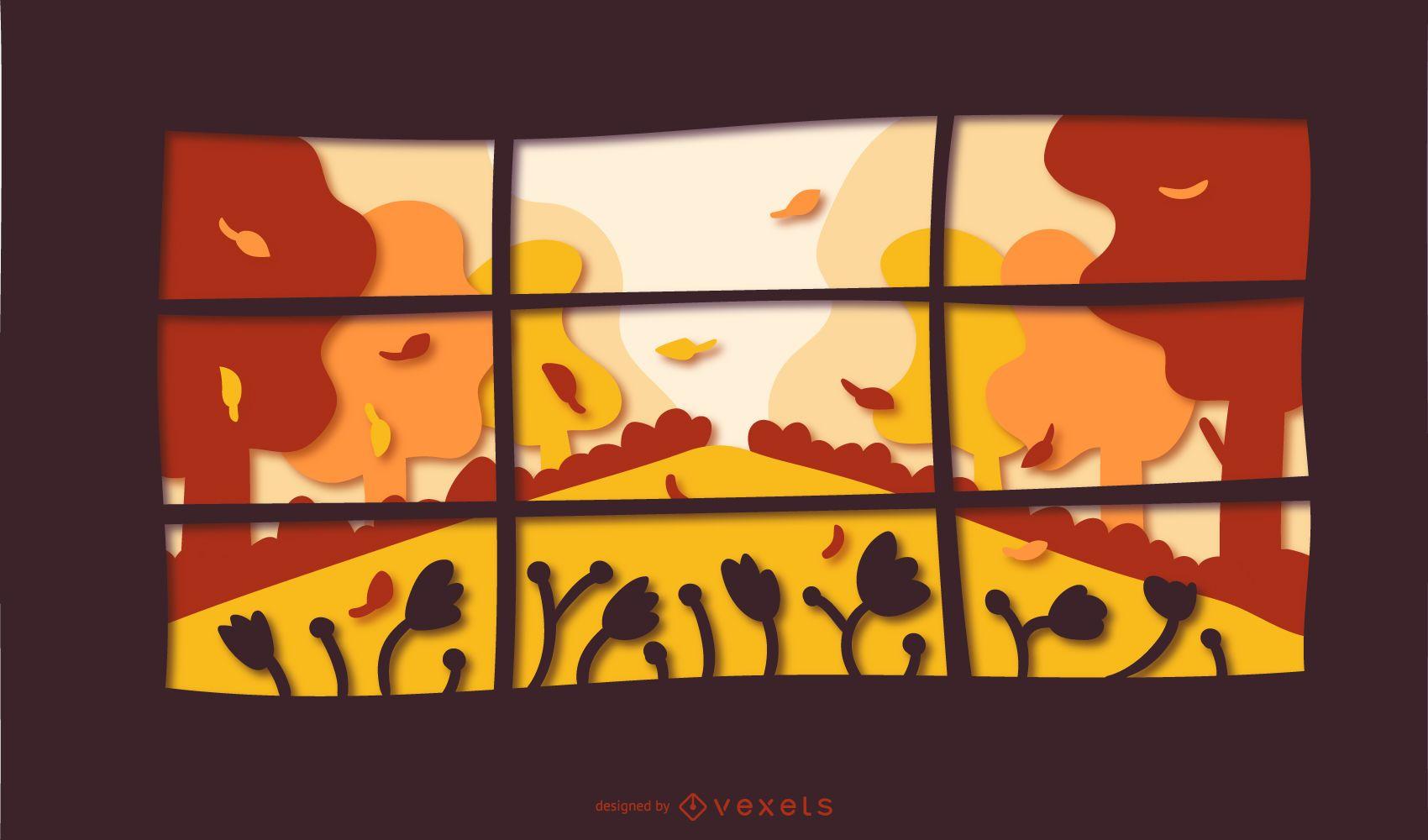 Ilustración de papercut de ventana de otoño