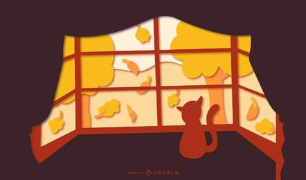 Fall window papercut illustration
