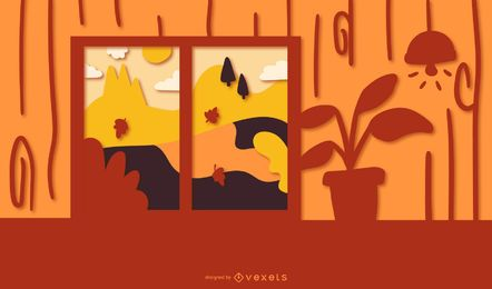 Fall papercut house illustration