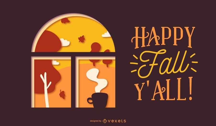 Fall papercut quote design