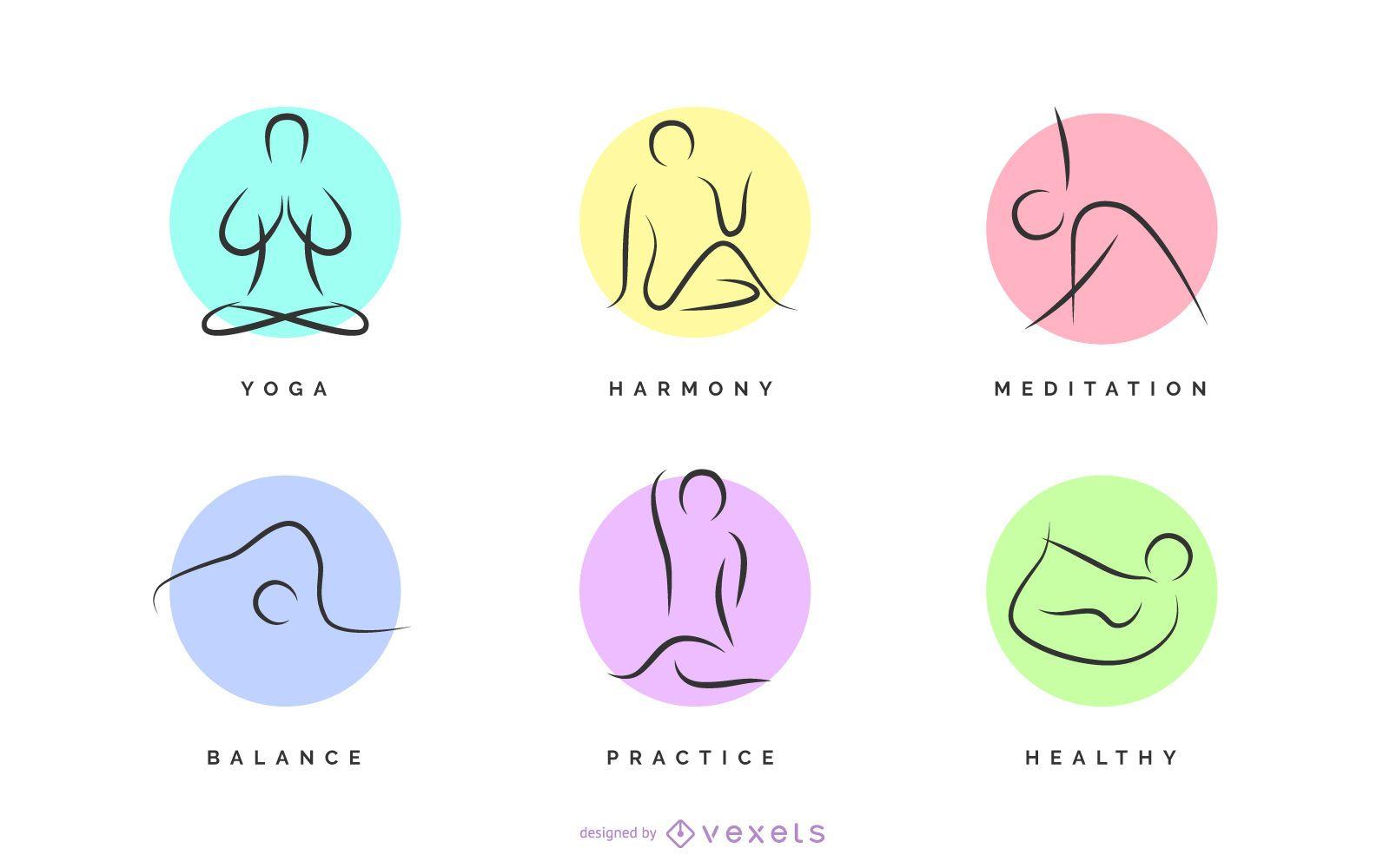 Yoga poses logo set