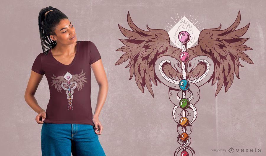 Projeto do t-shirt de sete Chakras