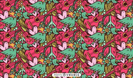 Diseño de patrón rosa hippie