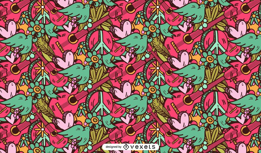 Hippie pink pattern design