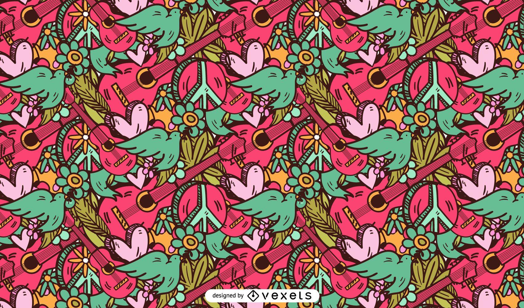 Desenho de padrão rosa hippie