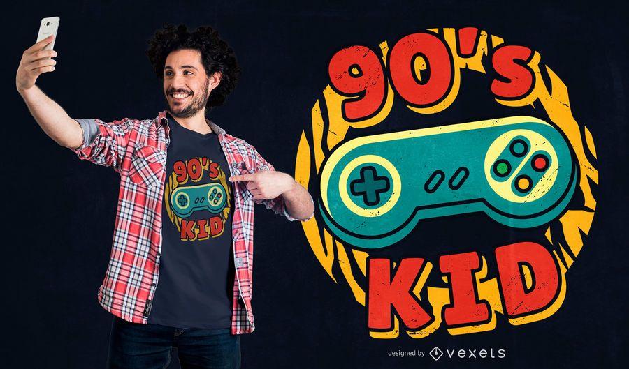 90â????s gaming kid t-shirt design