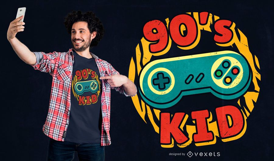 90's gaming kid t-shirt design