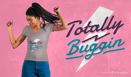 Diseño de camiseta retro totalmente buggin