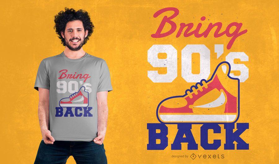 Traga o design de camiseta traseira do 90