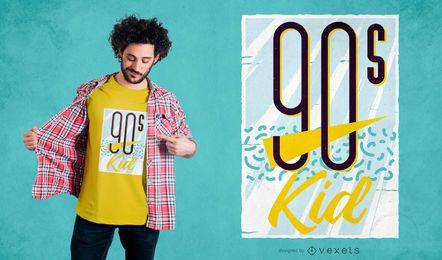 Design retro do t-shirt do miúdo dos anos 90